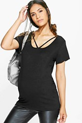 Boohoo Maternity Ava Strappy Basic Oversized Tee Black