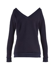 Pepper And Mayne Deep V Neck Quilted Cotton Blend Sweatshirt Navy