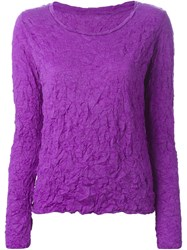Issey Miyake Cauliflower Crinkled Effect Long Sleeve T Shirt Pink And Purple
