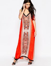 Liquorish Lightweight Maxi Dress With Cold Shoulder In Bold Tribal Print Red