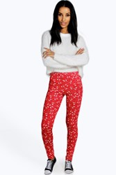 Boohoo Snowman Novelty Christmas Leggings Red