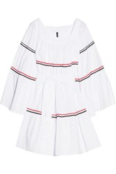 Lisa Marie Fernandez Rickrack Trimmed Broderie Anglaise Cotton Dress White