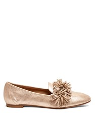 Aquazzura Wild Thing Suede Loafers Rose Gold