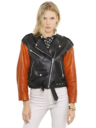 Isabel Marant Nappa Leather Moto Jacket Black Brown