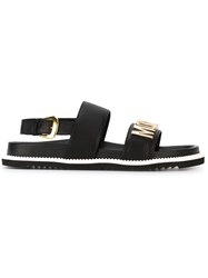 Moschino Logo Plaque Sandals Black