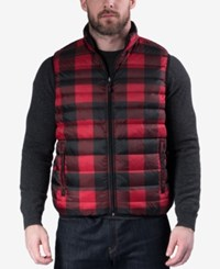 Hawke And Co. Outfitter Outfitters Men's Reversible Packable Vest Red Buffalo Plaid Black