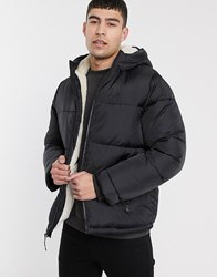Hollister Teddy Borg Lined Hooded Puffer In Black