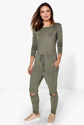 Boohoo Long Sleeved Slit Knee Relaxed Fit Jumpsuit Khaki