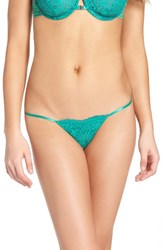 Free People Women's What She Said Thong Green Combo