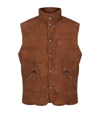 Polo Ralph Lauren Suede Quilted Gilet Male Brown