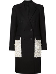 Vera Wang 'Reefer' Coat Black