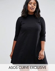 Asos Curve Swing Dress With High Neck And 3 4 Sleeve Black