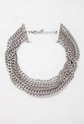 Forever 21 Layered Curb Chain Necklace B.Silver