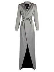 Balmain Satin Belted Overcoat Grey