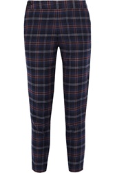 Thakoon Addition Plaid Cotton Blend Flannel Tapered Pants