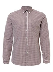 Topman Burgundy Gingham Long Sleeve Shirt Red