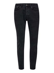 Topman Washed Black Stretch Tapered Jeans