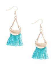 Robert Rose Tassel Half Moon Drop Earrings Turquoise
