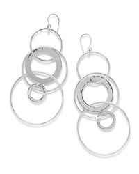 Ippolita 925 Classico Mixed Large Hammered Link Jet Set Earrings Silver