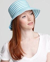 Eric Javits Braid Dame Multicolor Bucket Hat Turquoise White