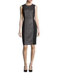 Carmen Marc Valvo Sleeveless Metallic Tweed Cocktail Dress Black