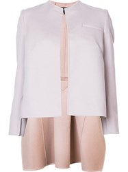 Derek Lam Collarless High Low Hem Jacket Nude And Neutrals