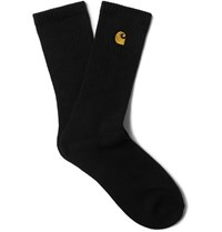 Carhartt Wip Chase Logo Embroidered Ribbed Stretch Cotton Blend Socks Black