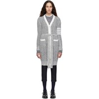 Thom Browne Grey And White Open Stitch Long Cardigan