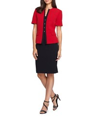 Tahari By Arthur S. Levine Two Piece Short Sleeve Jacket And Skirt Suit Set Vintage Red