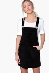 Boohoo Cord Dungaree Pinafore Dress Black