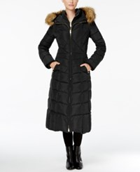 Jones New York Faux Fur Trim Down Maxi Coat Black