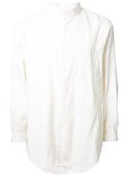 Gold Flannel Band Collar Shirt White