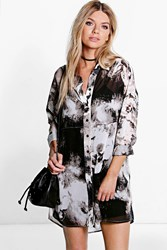 Boohoo Monochrome Print Woven Shirt Dress Black