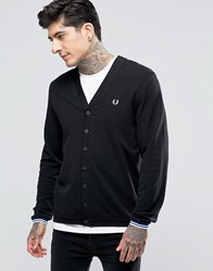 Fred Perry Cardigan In Pique In Black Black
