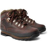 Timberland Euro Hiker Rubber Trimmed Leather Boots Brown