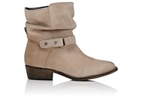 Barneys New York Women's Leather Moto Ankle Boots Nude