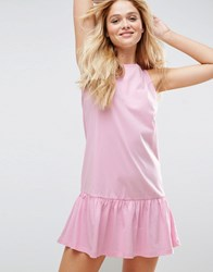 Asos Dropped Hem Sleeveless Mini Smock Dress Light Pink