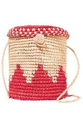 Nannacay Woman Two Tone Toquilla Straw Bucket Bag Tomato Red