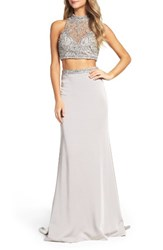 La Femme Women's Embellished Two Piece Gown