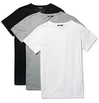 Balmain Three Pack Slim Fit Distressed Cotton Jersey T Shirts Gray