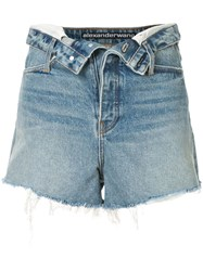 Alexander Wang Open Front Denim Shorts Blue