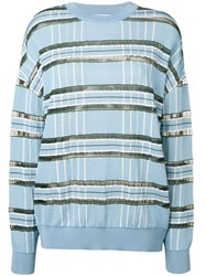 Christian Wijnants Striped Sheer Panelled Jumper Blue