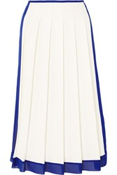 Victoria Beckham Georgette Trimmed Pleated Crepe Midi Skirt White