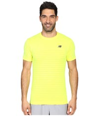 New Balance M4m Seamless Short Sleeve Top Firefly Heather Men's Short Sleeve Pullover Yellow