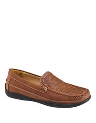 Johnston And Murphy Woven Leather Loafers Tan