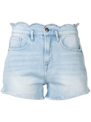 Frame Scallop Edge Shorts Blue