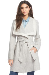 Jessica Simpson Belted Basket Weave Wrap Coat Grey