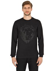 Versus Lion Crackle Printed Cotton Sweatshirt