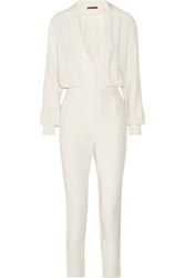 Tamara Mellon Silk Jumpsuit White