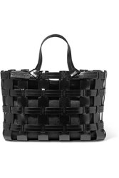 Trademark Frances Caged Leather And Canvas Tote Black